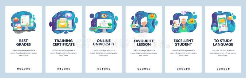 Onboarding skärmar för mobil app Online-utbildning och digitalt universitet, utbildningskurser och certifikat Menyvektor royaltyfri illustrationer