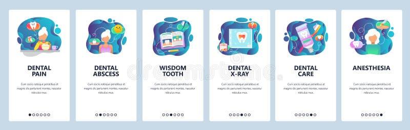 Onboarding skärmar för mobil app Tand- klinikbehandling, tänder smärtar, röntgenstrålen, vishettand Mall för menyvektorbaner för vektor illustrationer