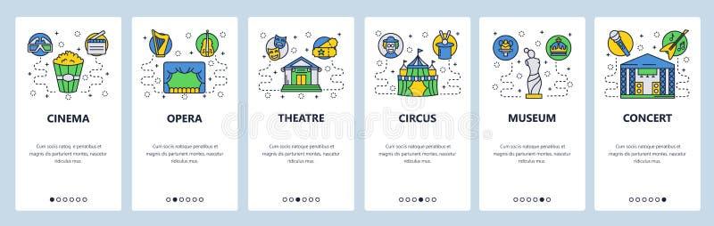Onboarding skärmar för mobil app Underhållningsymboler, bio, opera, cirkus, thatre, museum Mall för menyvektorbaner stock illustrationer