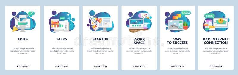 Onboarding skärmar för webbplats Affärsledning och programvaruutveckling Mall för menyvektorbaner för website och royaltyfri illustrationer