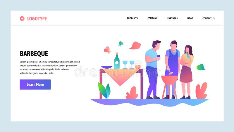 Onboarding skärmar för webbplats Den BBQ-partiet och picknicken i parkerar Mall för menyvektorbaner för website och mobil app royaltyfri illustrationer