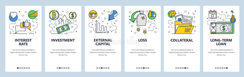 Onboarding skärmar för webbplats Finans bankrörelse, investering, pengarflöde Mall för menyvektorbaner för website och stock illustrationer