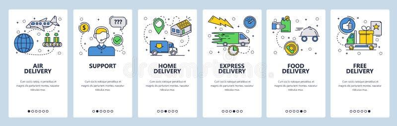 Onboarding skärmar för webbplats Hem- uttrycklig och luftleverans Mall för menyvektorbaner för website och mobil app royaltyfri illustrationer