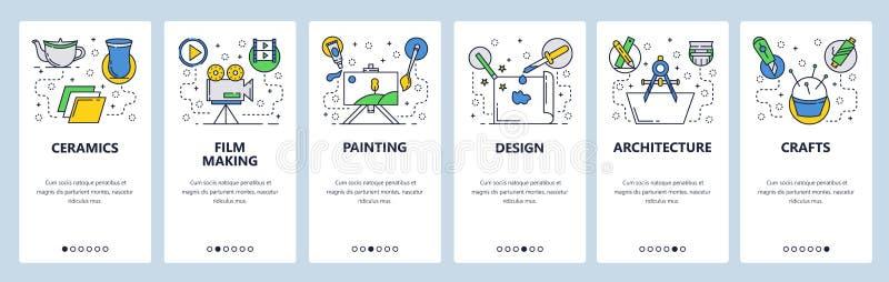 Onboarding skärmar för webbplats Hobby- och konstyrken, keramik, hantverk, målning, design Mall för menyvektorbaner stock illustrationer