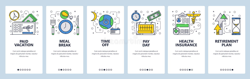 Onboarding skärmar för webbplats Lunchavbrott, tid för semestern, löndag, retirenmentplan Mall för menyvektorbaner för royaltyfri illustrationer