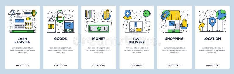 Onboarding skärmar för webbplats Online-shopping och pengarbetalning Mall för menyvektorbaner för website och mobil app stock illustrationer