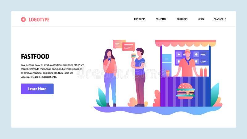 Onboarding skärmar för webbplats Snabbmat stannar Folket äter lunch på en gata Mall för menyvektorbaner för website och stock illustrationer