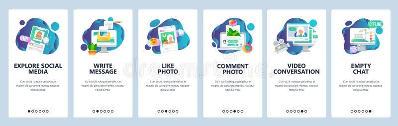 Onboarding skärmar för webbplats Social massmediaservice, online-pratstund och dateraprofiler Mall för menyvektorbaner för royaltyfri illustrationer