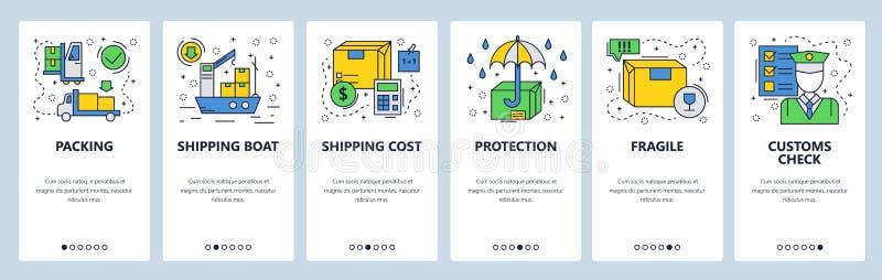 Onboarding skärmar för webbplats Världsomspännande leverans, lastfartyg och egen Mall för menyvektorbaner för website och royaltyfri illustrationer