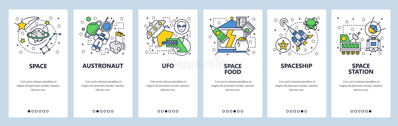 Onboarding skärmar för webbplats Yttre rymd planeter, gör rak, lanseringen för utrymmeraket Mall för menyvektorbaner för website vektor illustrationer