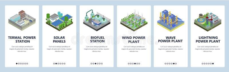 Onboarding sk?rmar f?r mobil app Energiutvecklingsbransch, kraftverk, solpaneler, vindfält Menyvektorbaner royaltyfri illustrationer