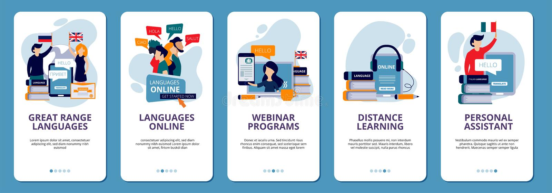 Onboarding sk?rmar Orientering för vektor för design för app för online-för avstånd för skola för lära för språk för utbildning t stock illustrationer