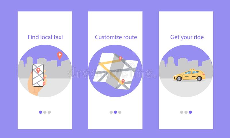 Onboarding taxi, find local, customize route, get your ride royalty free illustration