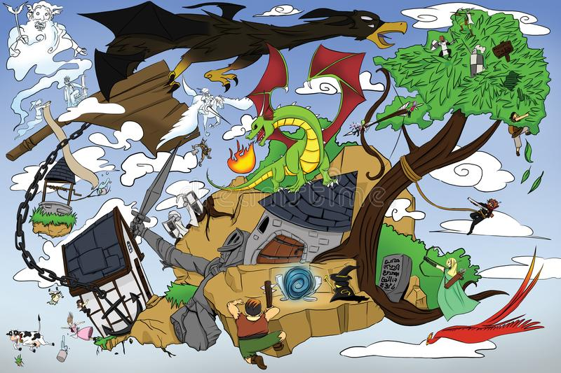 Dragon and Warrior. Once day, Dragon and a monster destroy the city. Mage ready to escape using magic portal. Everyone n listen to heaven King order, they royalty free illustration