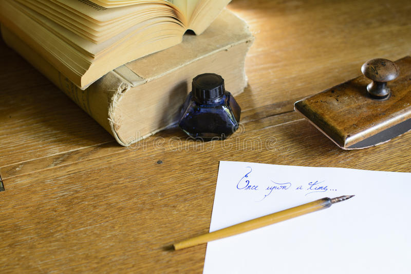€œOnce di frase sopra un  del time†scritto a mano fotografia stock libera da diritti