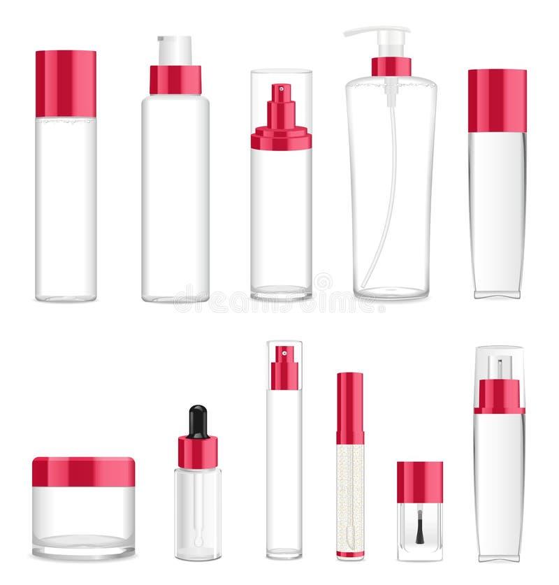 Once diversas botellas cosméticas transparentes Lugar para el texto V fotos de archivo