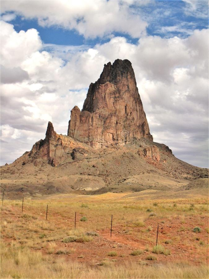 Shiprock Volcanic Peak in New Mexico stock photography
