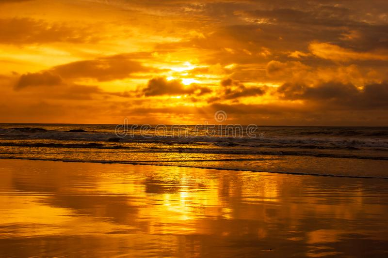 once in a life time beautiful sunrise over the indian ocean, waves are breaking at the great ocean road, victoria, australia royalty free stock photo