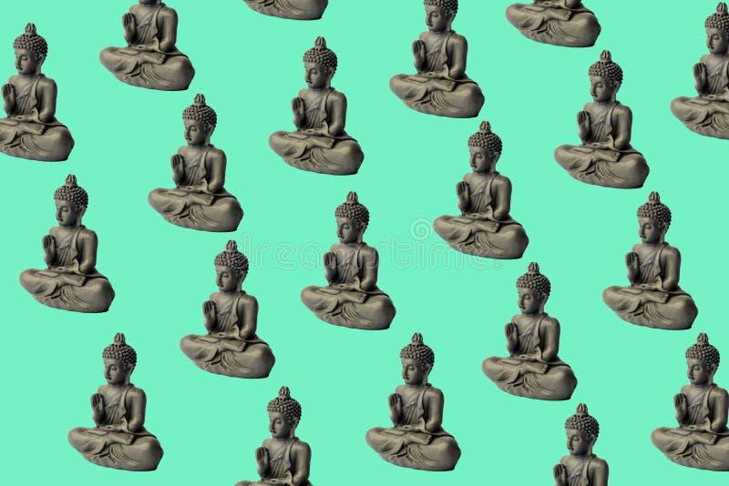 Oncentration de ¡ de Ð d'esprit Concept de yoga Pose de Lotus Fond de méditation de zen Détendez le concept minimal image stock