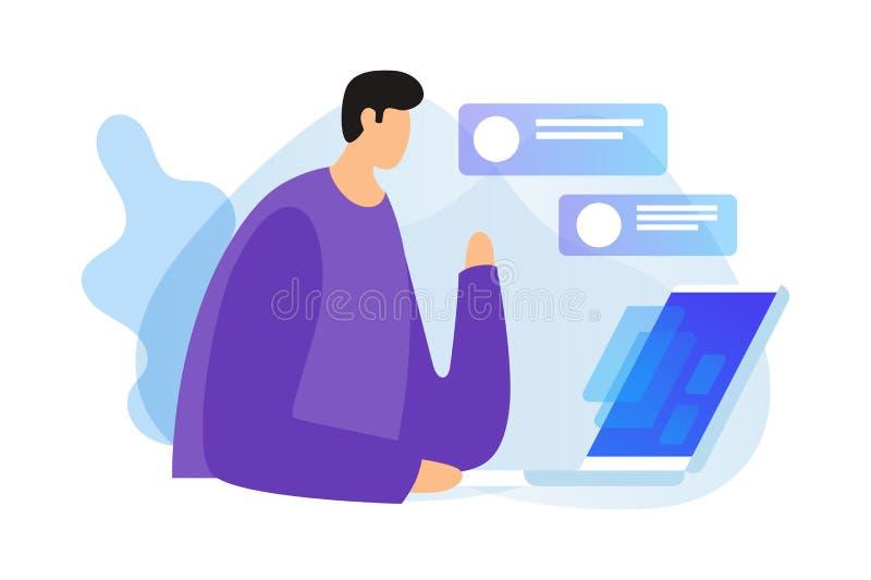 Oncept ¡ Ð цифровых технологий, социальных сетей и диалогов над интернетом иллюстрация вектора