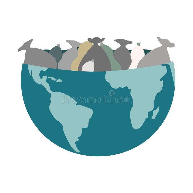 Oncept глобального загрязнения Половина планеты заполнена с сумками отброса иллюстрация вектора