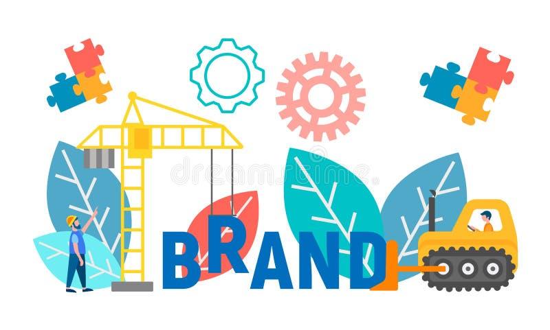 Oncept av märkesskapelsen och utveckling, brännmärka som rebranding, vektorillustration royaltyfri illustrationer