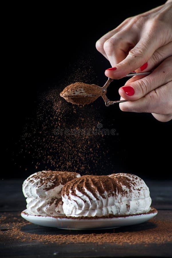 ? oncept von Haupteibischen: eine Frau, die Eibische mit Schokolade besprüht stockbilder