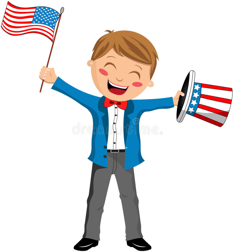 Oncle Sam Boy avec le chapeau et le drapeau des Etats-Unis illustration libre de droits