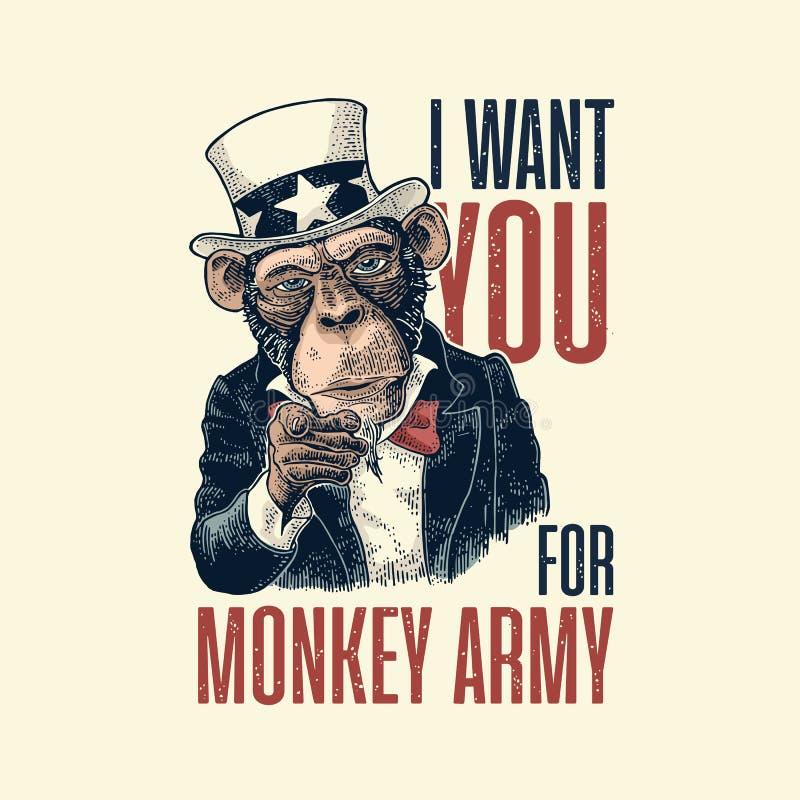 Oncle Sam de singe avec diriger le doigt à la visionneuse Gravure de vintage illustration de vecteur