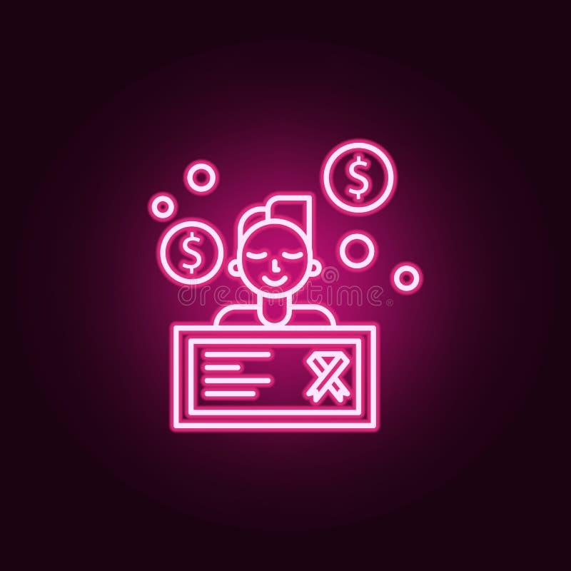 oncologyvälgörenhetsymbol Beståndsdelar av cancerdagen i neonstilsymboler Enkel symbol för websites, rengöringsdukdesign, mobil a vektor illustrationer
