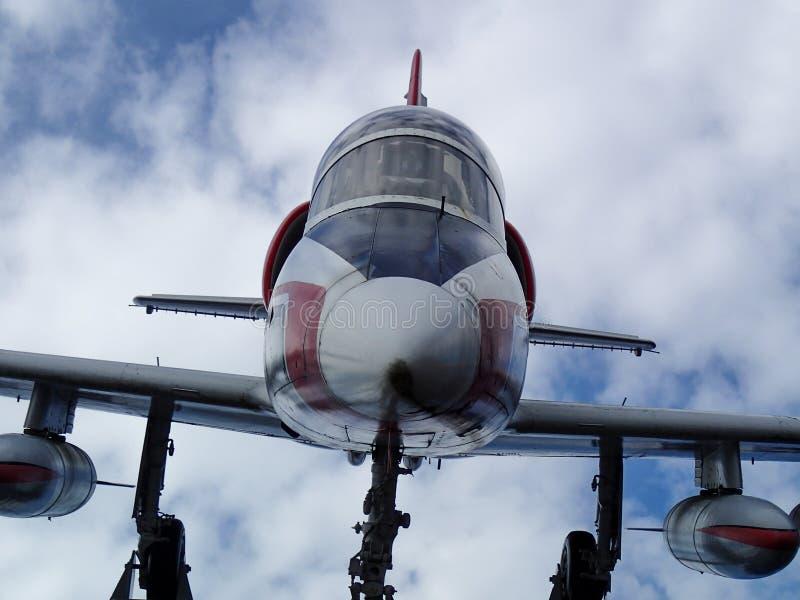 Oncoming airplane closeup stock photo