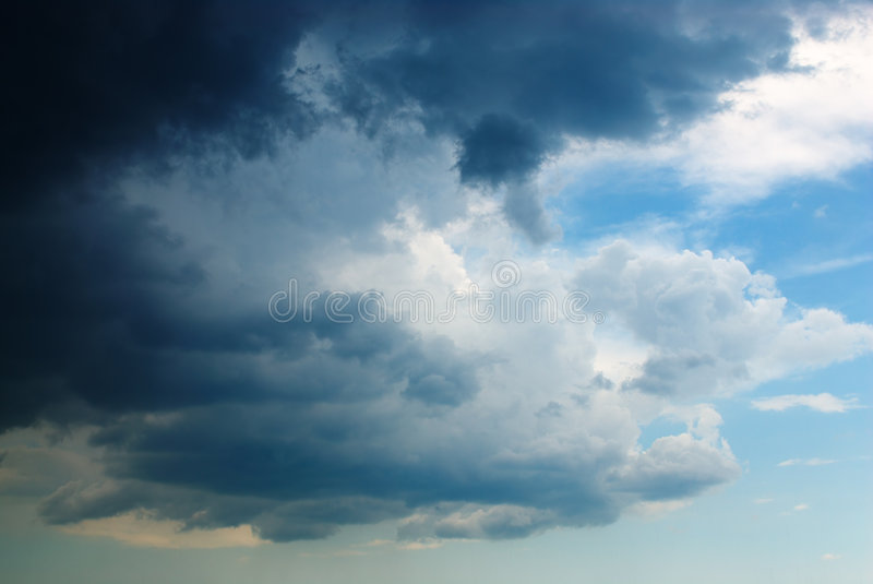 Oncoming storm. Oncoming heavy black storm clouds stock photography