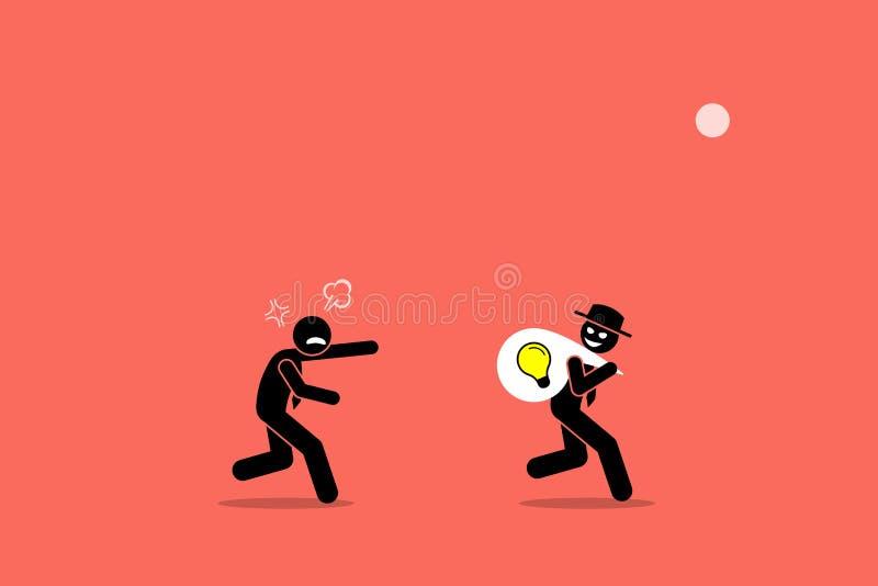 Ond affärsman som stjäler affärsidé stock illustrationer