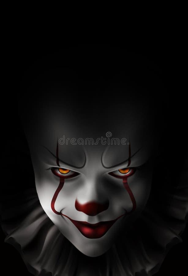 Ond dyster clown royaltyfri illustrationer