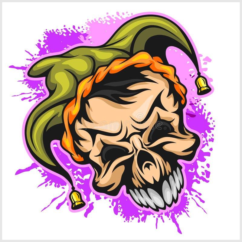 Ond läskig clown Allhelgonaaftonmonster, jokertecken också vektor för coreldrawillustration royaltyfri illustrationer