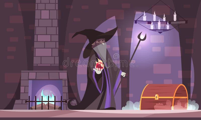 Ond trollkarl Illustration royaltyfri illustrationer