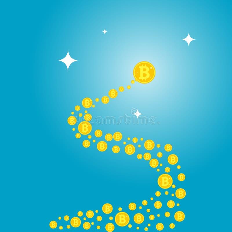 Onda abstracta bajo la forma de bitcoin Vuelo de Bitocaine en un espiral abstracto ilustración del vector