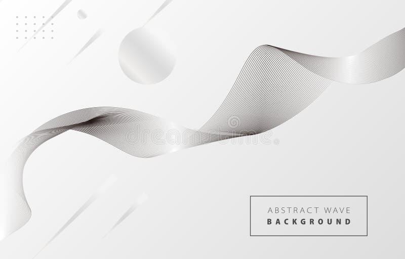 Onda abstracta blanca y negra 1 stock de ilustración