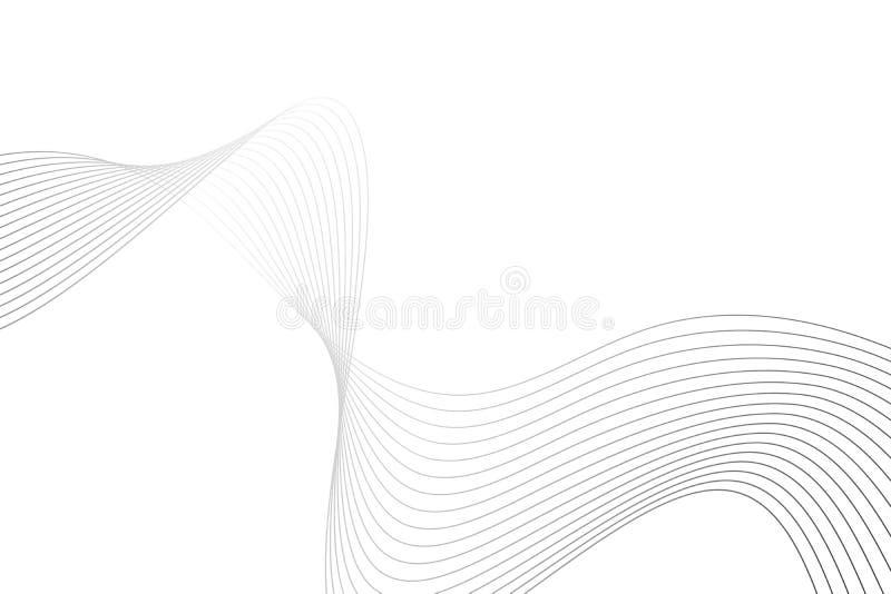 Onda abstracta compuesta de líneas curvadas grises finas en blanco libre illustration