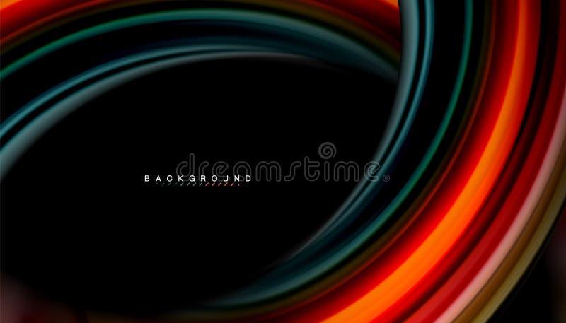 A onda abstrata alinha as listras fluidas da cor do estilo do arco-íris no fundo preto ilustração royalty free