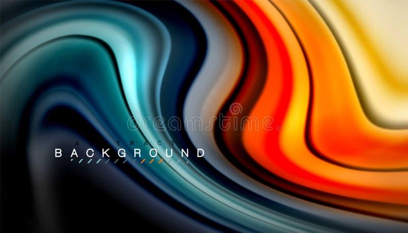 A onda abstrata alinha as listras fluidas da cor do estilo do arco-íris no fundo preto ilustração do vetor