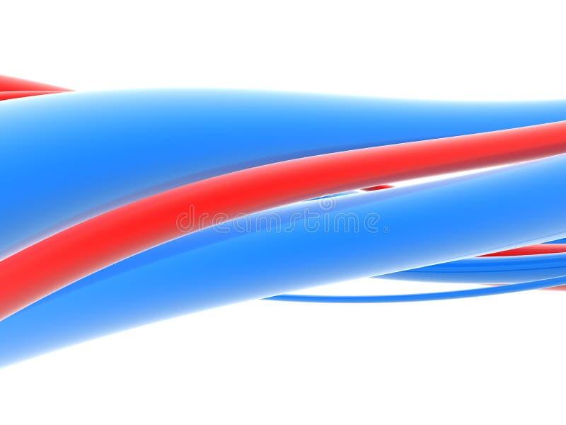 Onda abstrata azul e vermelha ilustração do vetor