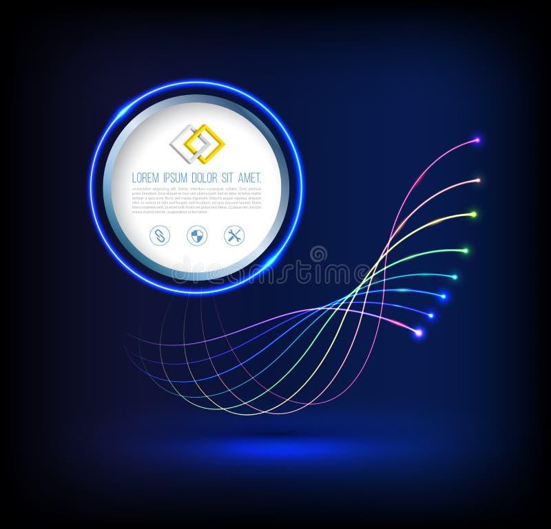 Onda abstrata de conexões da tecnologia da fibra ótica ilustração royalty free
