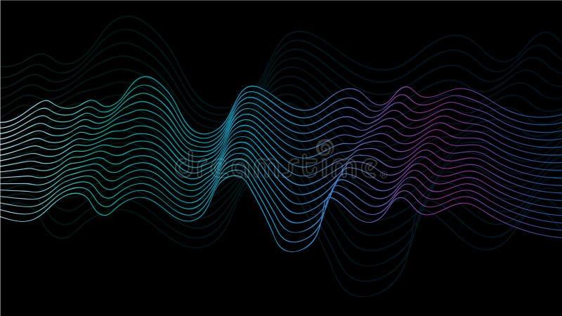 A onda abstrata do vetor alinha cores verdes, azuis e roxas isolada no fundo preto para elementos na tecnologia, computador do pr ilustração stock