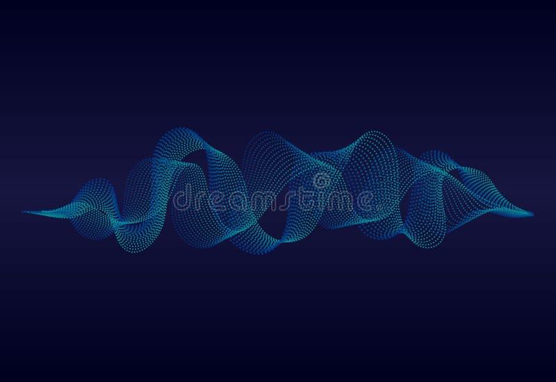Onda acústica abstracta de la música con las partículas onduladas Digitaces soundwave en fondo azul concepto del equalizador de l stock de ilustración