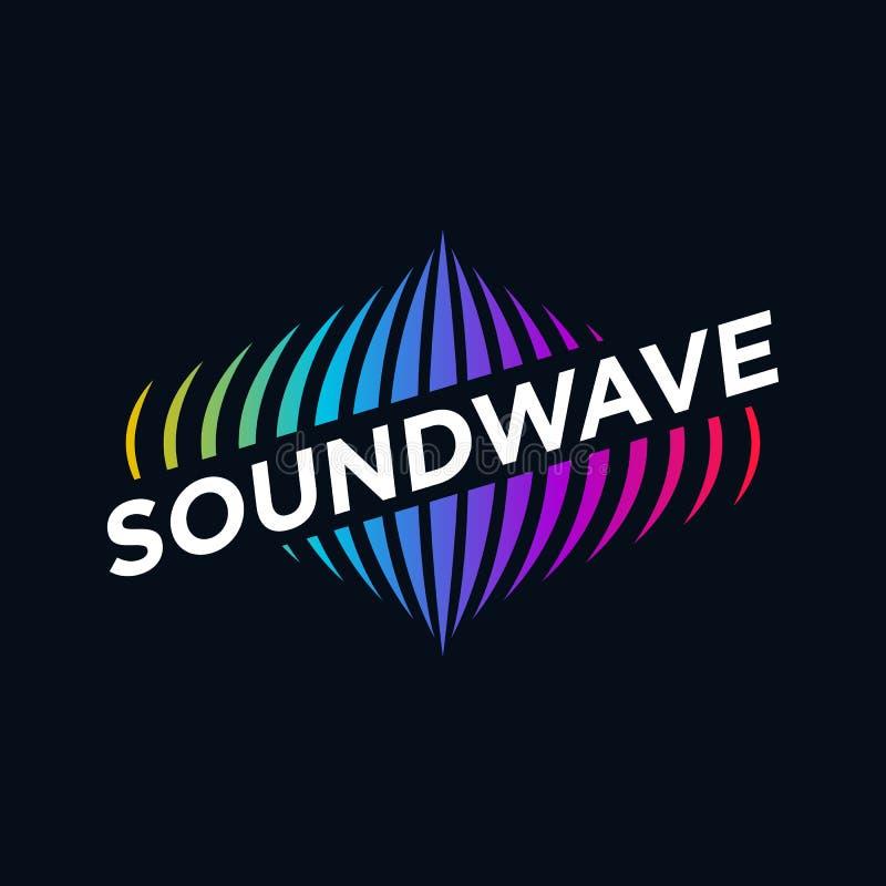Onda acústica del concepto del logotipo de la música, tecnología audio, forma abstracta stock de ilustración