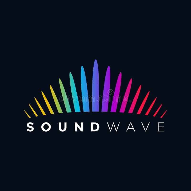 Onda acústica del concepto del logotipo de la música, tecnología audio, forma abstracta libre illustration
