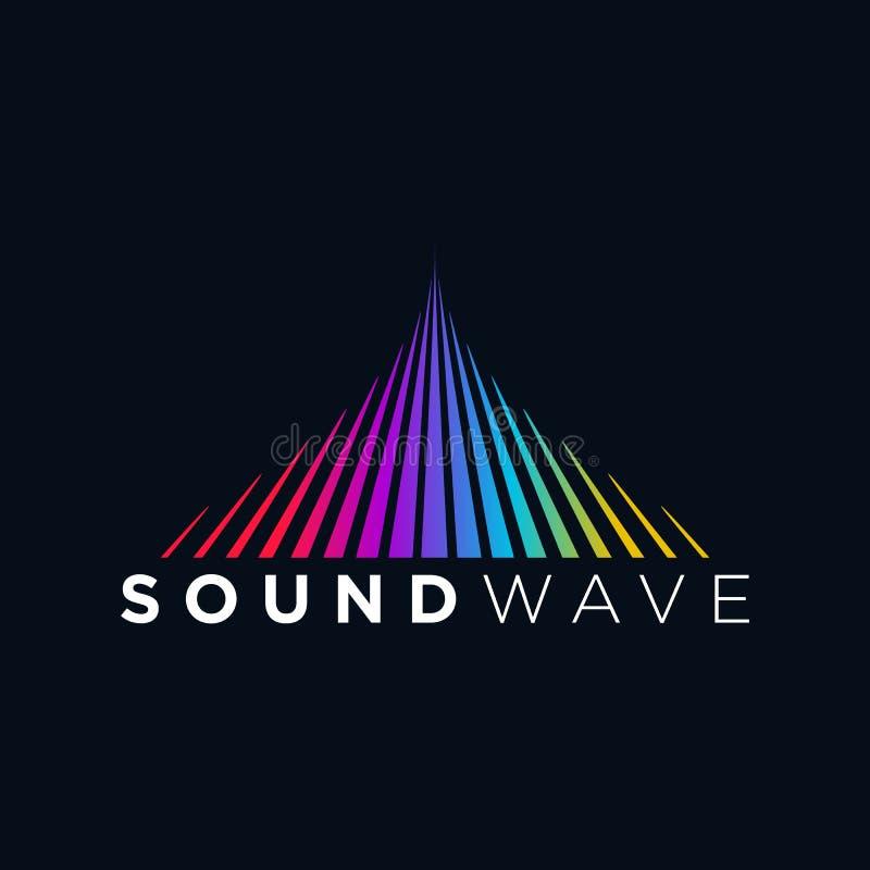 Onda acústica del concepto del logotipo de la música, tecnología audio, forma abstracta ilustración del vector