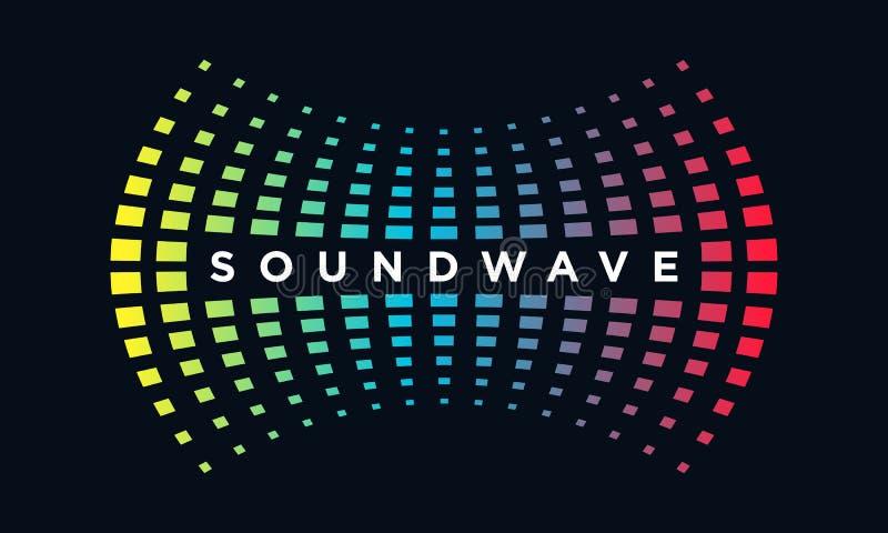 Onda acústica del concepto del logotipo de la música, tecnología audio, forma abstracta imagen de archivo