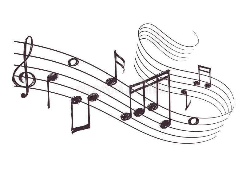 Onda acústica musical del bosquejo con las notas de la música Ilustración drenada mano del vector stock de ilustración